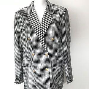 Vintage 90s Houndstooth check Blazer Work Wear